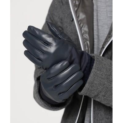 BEAMS MEN / BEAMS / ジャージ切り替え レザー グローブ MEN ファッション雑貨 > 手袋