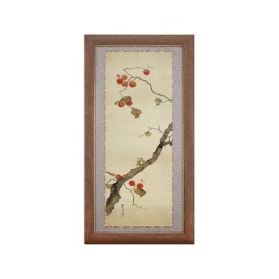 酒井抱一 十二か月花鳥図 十月 柿に目白図 額 アート 美術品 作品 日本画 複製画 - アートの友社