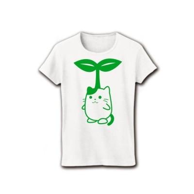 芽が育った種ねこ リブクルーネックTシャツ(ホワイト)
