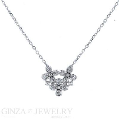 ヴァンドーム青山 K18WG ホワイトゴールド ネックレス ダイヤモンド 0.11ct 花 フラワー 3連 デザイン【新品仕上済】【el】【中古】