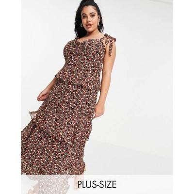 イン ザ スタイル プラス レディース ワンピース トップス In The Style Plus x Jac Jossa tie strap ruffle tiered maxi dress in black floral print Multi