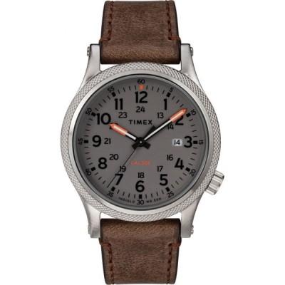 タイメックス TIMEX ユニセックス 腕時計 Allied Leather Strap Watch, 40mm Brown/Grey/Silver