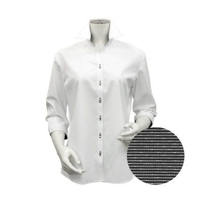 (TOKYO SHIRTS/トーキョーシャツ)シャツ 七分袖 形態安定 スキッパー衿 透け防止 レディース ウィメンズ/レディース シロ