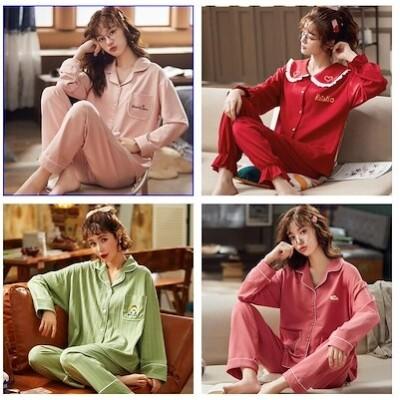 パジャマの純綿の春と秋の長袖の2着の韓版の大きいサイズの冬の学生のかわいい家の服の外で着るキャラクターシャツ