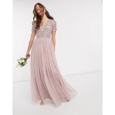 マヤ Maya レディース ワンピース Vネック マキシ丈 ワンピース・ドレス Bridesmaid v neck maxi dress with tonal delicate sequin in pink ベビーピンク
