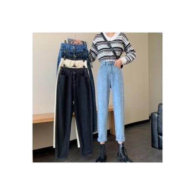 【送料無料】ルース 女性のジーンズ 秋と冬 新品 着やせ 何でも似合う ストレートジーンズ クリンピ   364331_A64166-1041216