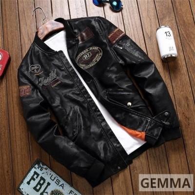 メンズレザージャケット厚手薄手アウター革ジャン2タイプブルゾンライダースジャケット裏起毛刺繍バイク用シングル