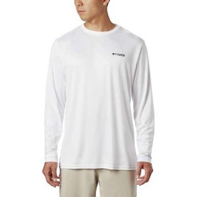 コロンビア メンズ シャツ トップス Columbia Men's PFG Fish Series II Terminal Tackle LS Shirt White / Striper