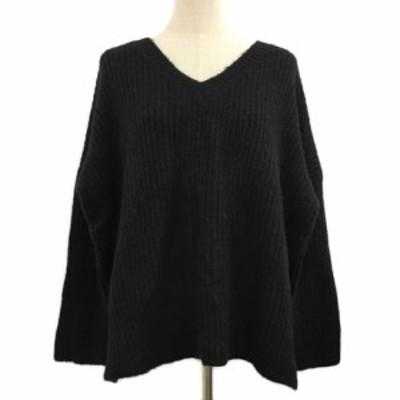 【中古】マウジー moussy セーター ニット プルオーバー Vネック 無地 長袖 F 黒 ブラック レディース