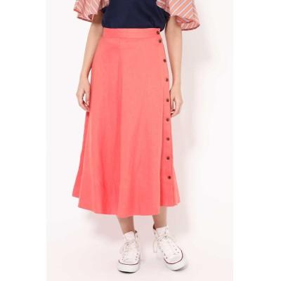 サイドボタンフレアスカート ピンク