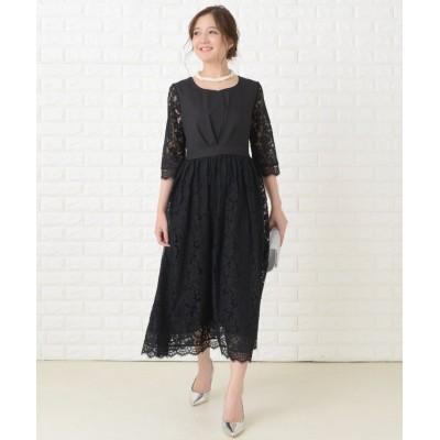 (Lace Ladies/レースレディース)編み上げリボンミモレ丈 ワンピース・ドレス/レディース ブラック