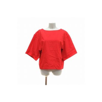 【中古】イネド INED シャツ 五分袖 ノーカラー 9 赤 レッド /CT レディース 【ベクトル 古着】