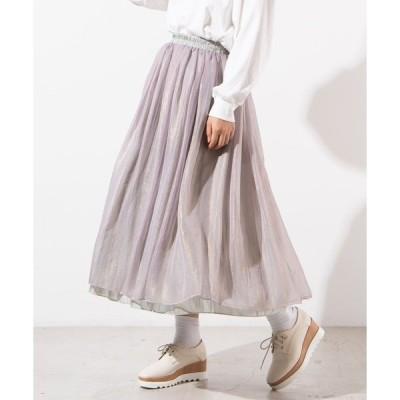 スカート WEGO/2WAYシアーサテンリバーシブルロングスカート