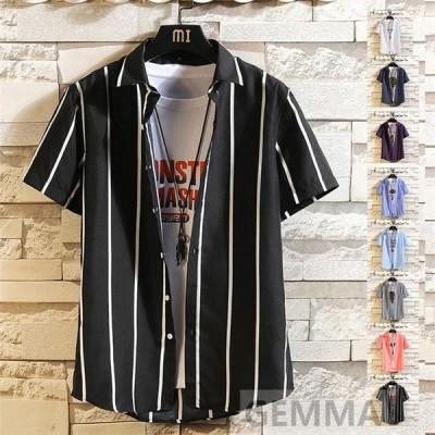 シャツ メンズ 半袖 ストライプ柄  トップス 縞模様 カジュアルシャツ 韓流 個性 イケメン モデル 羽織り 開襟シャツ