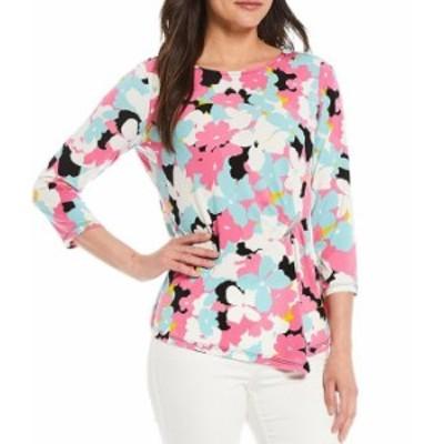 カルバンクライン レディース Tシャツ トップス Floral Print Matte Jersey 3/4 Sleeve Ruched Side-Bar Detail Top Flamingo Multi