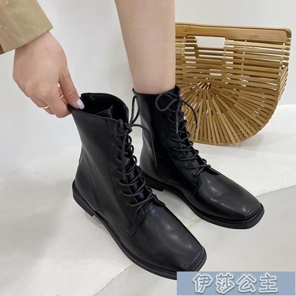 中筒靴女 系帶韓版短靴女新款方頭軟皮彈力瘦瘦騎士靴網紅軟底春秋單靴