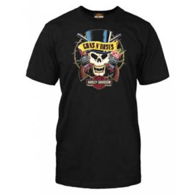 【お取り寄せ】ハーレーダビットソン メンズ Harley-Davidso<wbr/>n Men's Guns N' Roses Barbed Skull Short Sleeve T-Shirt, Black