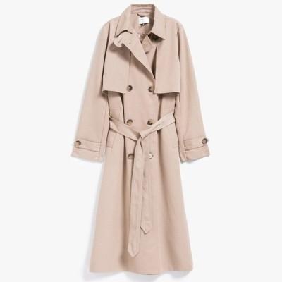 ハイファッションブランド 女性クラシックダブルブレスト防水トレンチコートレインコートビジネスアウターウェア Khaki XXL