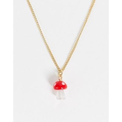 モンキ レディース ネックレス・チョーカー アクセサリー Monki Sheila mushroom necklace in gold