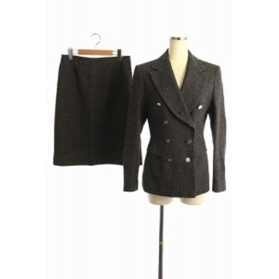 【中古】サルヴァトーレフェラガモ スカートスーツ セットアップ 上下 ウール ダブル ひざ丈 38 42 黒 白