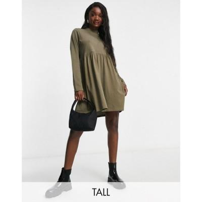 ブレイブソウル Brave Soul Tall レディース ワンピース ワンピース・ドレス Lizzie High Neck Smock Dress In Khaki カーキ