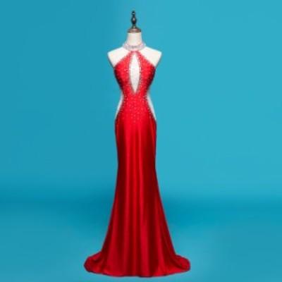 5色 パーティードレス イブニングドレス ロングドレス カラードレス セクシードレス マーメイド 透け感 誘惑 キャバ嬢