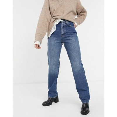 トップショップ レディース デニムパンツ ボトムス Topshop buckle detail carpenter jeans in mid blue