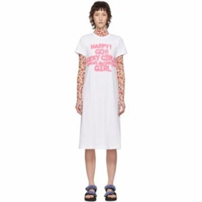 コム デ ギャルソン Comme des Garcons Girl レディース ワンピース Tシャツワンピース ワンピース・ドレス White Cotton Logo T-Shirt D