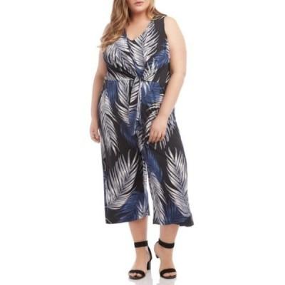 カレンケーン レディース ワンピース トップス Palm Print Tie Front Wide Leg Crop Jumpsuit (Plus Size) PRT