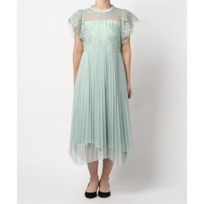 ドレス レース切り替えイレヘムチュールプリーツスカートワンピースドレス
