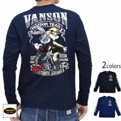 vanson×LOONEY TUNESコラボ 天竺長袖Tシャツ vanson LTV-925 バンソン ヴァンソン 刺繍 バッグスバニー バイカー ロンT