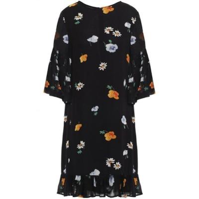 ガニー GANNI レディース ワンピース ワンピース・ドレス dainty ruffled floral-print georgette dress Black