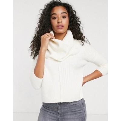ミスセルフフリッジ レディース ニット&セーター アウター Miss Selfridge sweater with cowl neck in cream Cream