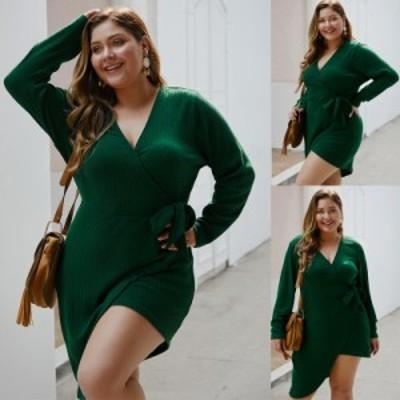 【 XL ~ 4XL 】大きいサイズ レディース Vネック 長袖 オータム 秋 ミニ ドレス セクシー 3XL 2XL 70618