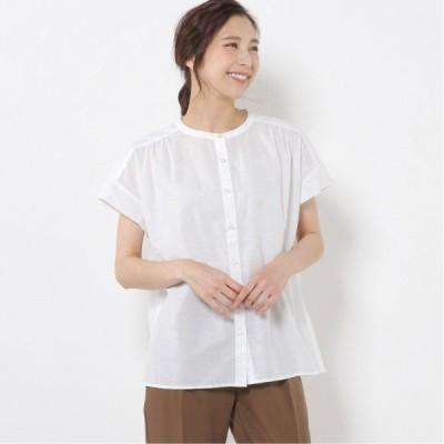 綿麻ピケフレンチスリーブバンドカラーシャツ オフホワイト M L