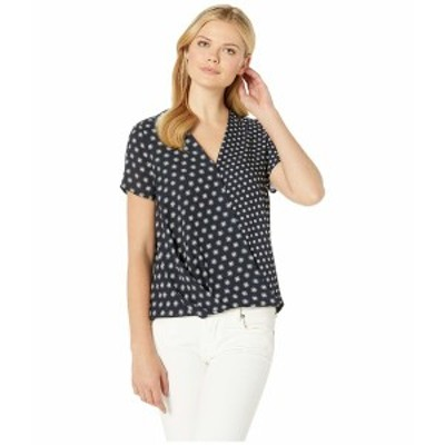 ヴィンスカムート レディース シャツ トップス Short Sleeve Graphic Foulard Geo Wrap Front Blouse Classic Navy