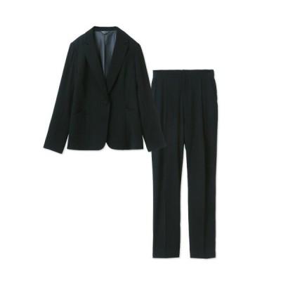 フォーマル レディース スーツ ひとつボタンテーラードジャケット&タックパンツ2点セットスーツ 「ブラック」