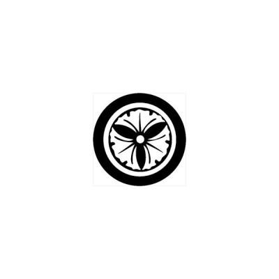 家紋シール 丸に三つ銀杏紋 直径4cm 丸型 白紋 4枚セット KS44M-3725W