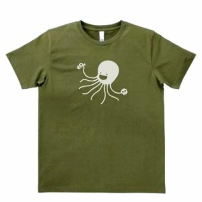 デザインTシャツ おもしろ 悪魔のタコ カーキー
