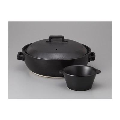 11/6までSALE価格!STYLE BLACK7号IH土鍋 スタイリッシュ鍋 黒※小鉢は付属していません