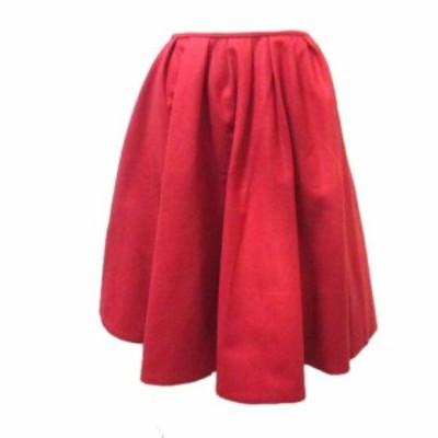 【中古】イエナ IENA EXTRA ひざ丈 スカート フレア ウール 赤 レッド 34 XSサイズ相当 小さいサイズ NVW X レディース