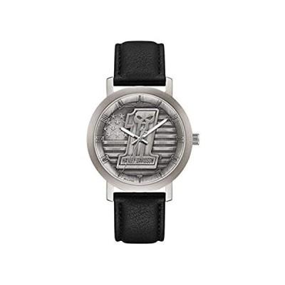 特別価格ハーレーダビッドソン メンズ #1 スカル スター&ストライプ 腕時計 レザーストラップ付き 76A163好評販売中