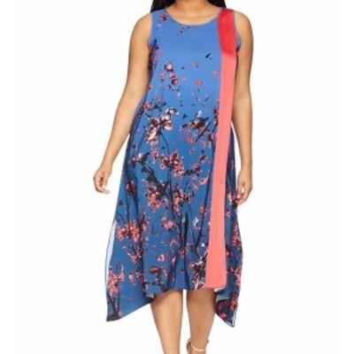 Rachel Roy レイチェルロイ ファッション ドレス Rachel Rachel Roy NEW Blue Womens Size 0X Plus Panel Scarf Shift Dress