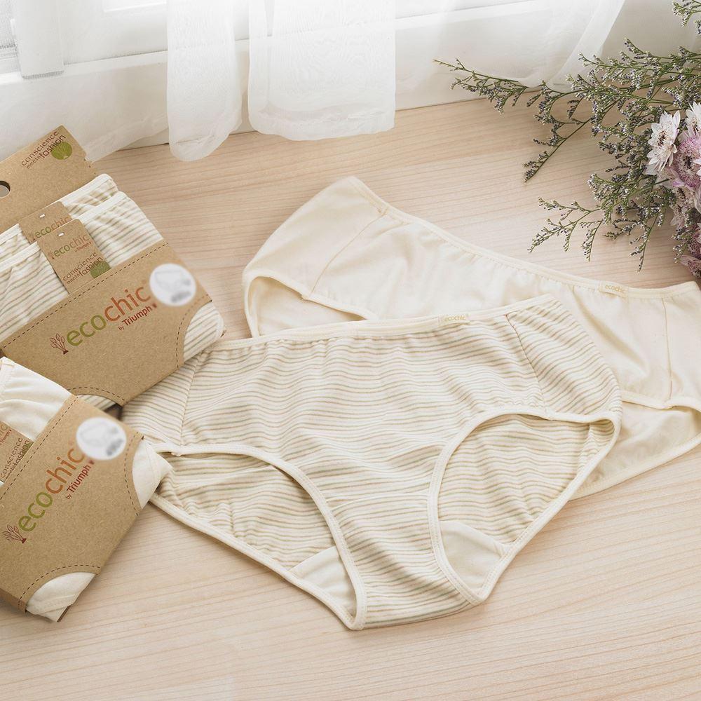 黛安芬-eco chic裸紗原棉 平口褲包兩件入 M-EL (膚色條紋)|C760101 W5