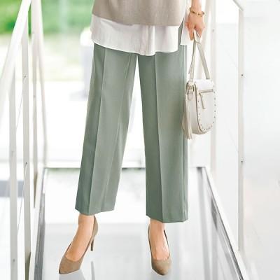ベルーナ 柔らかスラブ素材センタープレス美脚パンツ グリーン L レディース