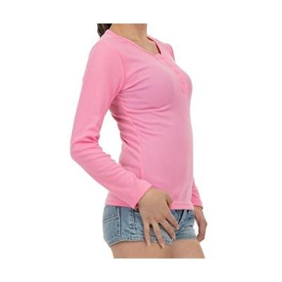 cousa Tシャツ ボタン レディース スリム 長袖 シャツ トップス シンプル 無地 (B04ピンク(XXL))
