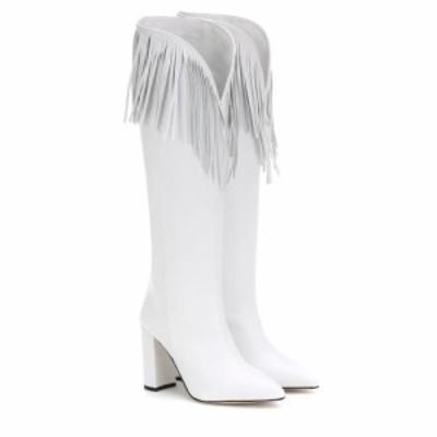 パリ テキサス Paris Texas レディース ブーツ シューズ・靴 Fringed leather boots White