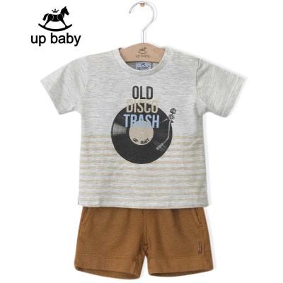■30%OFF■【UP BABY】男の子Tシャツ&ショートパンツ【ヴィンテージ・おしゃれ】ディスク|ホワイトグレー×マスタード(M(6〜9ヶ月 70cm))