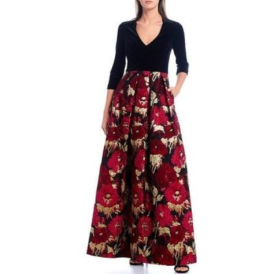 エリザジェイ レディース ワンピース トップス V-Neck 3/4 Sleeve Velvet Bodice Floral Jacquard Ball Gown