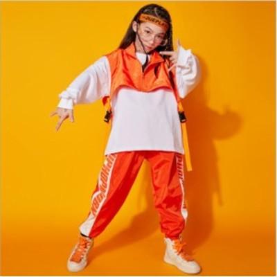 キッズダンス衣装 子供ダンス 衣装 ヒップホップ ダンストップス HIPHOP 上下セットアップ ステージ衣装 ジャズダンス スポーツウェア